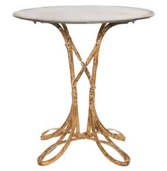 Ribbon Hollywood Regency Deco Gold Leaf Accent Side Table - Short | AG-F262