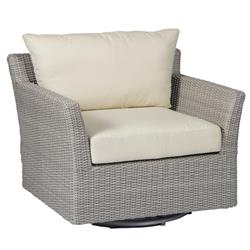 Summer Classics Club Woven Modern Oyster Grey Wicker Outdoor Swivel Glider Chair