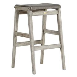 Summer Classics Coast Teak Coastal Beach Oyster Grey Outdoor Backless Bar Stool