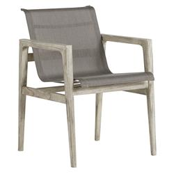 Summer Classics Coast Teak Sling Oyster Grey Outdoor Dining Arm Chair