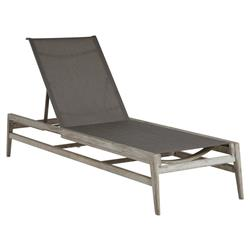 Summer Classics Coast Teak Sling Oyster Grey Outdoor Chaise Lounge