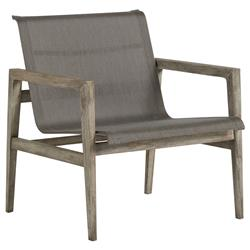 Summer Classics Coast Teak Sling Oyster Grey Outdoor Arm Chair
