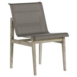 Summer Classics Coast Teak Sling Oyster Grey Outdoor Dining Side Chair