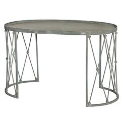 Palm House French Country Weathered Zinc Oval Coffee Table | AG-F293