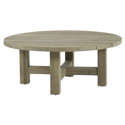 Summer Classics Croquet Teak Coastal Beach Oyster Grey Round Outdoor Coffee Table