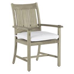 Summer Classics Croquet Teak Coastal Beach Oyster Grey Outdoor Dining Arm Chair