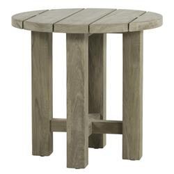 Summer Classics Croquet Teak Coastal Oyster Grey Round Outdoor Side End Table