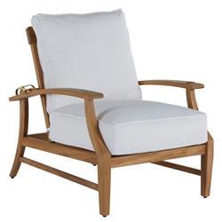 Summer Classics Croquet Teak Coastal Beach Brown Outdoor Recliner Chair