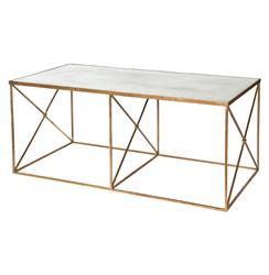 Firenze Hollywood Regency Gold Antique Mirror Coffee Table