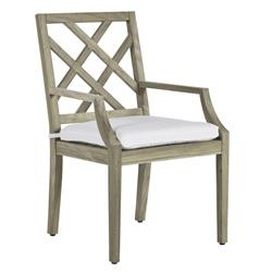 Summer Classics Haley French Country Oyster Grey Teak Wood Dining Arm Chair