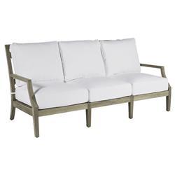 Summer Classics Haley French Country White Cushion Oyster Grey Teak Wood Sofa