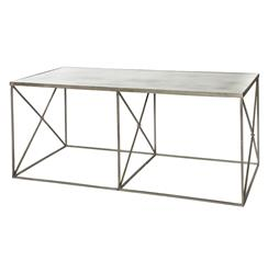 Furano Weathered Zinc Grey Antique Mirror Coffee Table