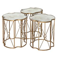 Marlene Hollywood Antique Mirror Bunching Side Tables - Set of 3
