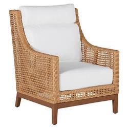 Summer Classics Peninsula Coastal Beach Brown Woven Wicker Outdoor Lounge Chair