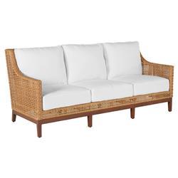 Summer Classics Peninsula Coastal Beach Brown Woven Wicker Outdoor Sofa