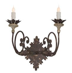 Nimes French Country Iron Curled Arm 2 Light Wall Sconce - Set of 2