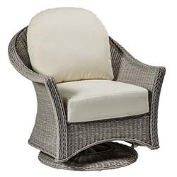 Summer Classics Regent French Oyster Grey Woven Wicker Outdoor Swivel Glider