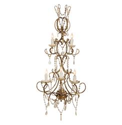 Cassandra Hollywood Regency Ornate Beaded 2 Tier 5 Light Sconce