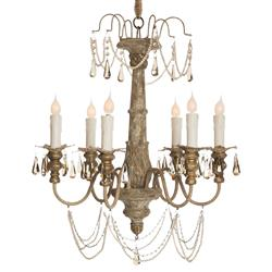 Forli French Country Crystal Gray Wash 6 Light Chandelier
