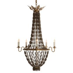 Bilzen Hollywood Beaded Swag Wood Rustic Glamour 6 Light Chandelier