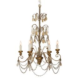Villa Lantre Hollywood Regency Antique Gold Beaded 6 Light Swag Chandelier