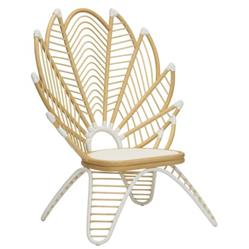 Isla Coastal Beach Natural White Woven Rattan Outdoor Lounge Chair