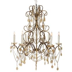 Carew Court French Style Ornate Beaded 6 Light Swag Chandelier