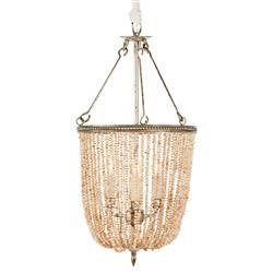 Regina Coastal Style Pink Pearls 4 Light Basket Chandelier