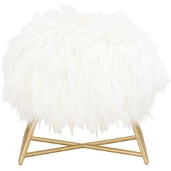 Nevaeh Hollywood Regency White Fur Gold Metal Ottoman