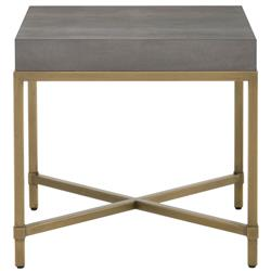 Izabella Modern Classic Grey Faux Shagreen Resin Gold Metal Side End Table
