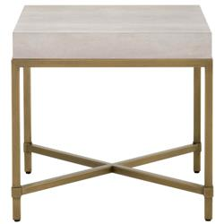 Izabella Modern Classic White Faux Shagreen Resin Gold Metal Side End Table