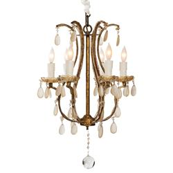 Fursdone Ivory Crystal French Antique 6 Light Gold Chandelier