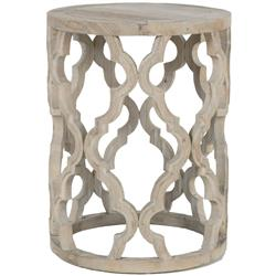 Mia French Country Smoke Grey Reclaimed Wood Round Side End Table - Small