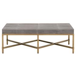Izabella Modern Classic Grey Faux Shagreen Resin Gold Metal Coffee Table