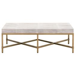 Izabella Modern Classic White Faux Shagreen Resin Gold Metal Coffee Table