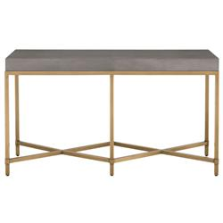 Izabella Modern Classic Grey Faux Shagreen Resin Gold Metal Console Table