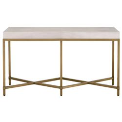 Izabella Modern Classic White Faux Shagreen Resin Gold Metal Console Table