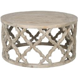 Mia French Country Grey Reclaimed Wood Round Round Coffee Table - Small