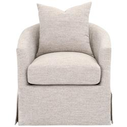 Zoey Modern Classic Grey Slipcovered Round Swivel Arm Chair