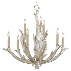 Rittenburg Antique Silver Antler Modern Rustic Lodge 9 Light Chandelier