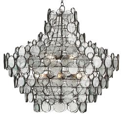 Iona Coastal Style Recycled Glass Medallion Iron 12 Light Chandelier
