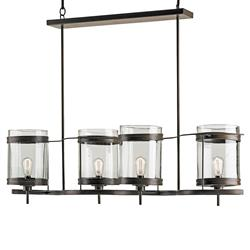 Aonzo Coastal Beach Style Glass Iron 4 Light Island Chandelier