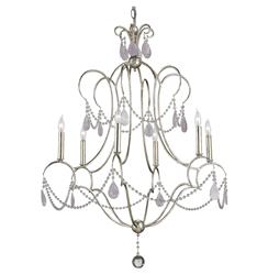 Bellamere Hollywood Regency Amethyst Rock Crystal Silver 6 Light Chandelier