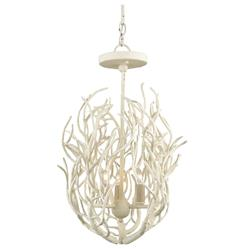 Delray White Coral Coastal Beach Style 3 Light Chandelier | Kathy Kuo Home