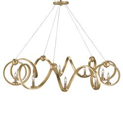 Blondell Hollywood Regency Gold 10 Light Candelabra Chandelier
