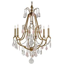 Loren Hollywood Regency Antique Brass Crystal 6 Light Chandelier