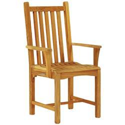 Kingsley Bate Classic Coastal Beach Slatted Teak Outdoor Dining Arm Chair