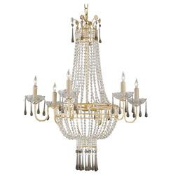 Raines Hollywood Regency Gold Crystal Romantic 6 Light Chandelier