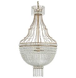 Oberon Hollywood Regency Gold Crystal Teardrop 3 Light Chandelier
