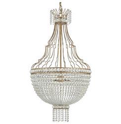 Oberon Hollywood Regency Gold Crystal Teardrop 3 Light Chandelier